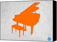 Player Canvas Prints - Orange Piano Canvas Print by Irina  March