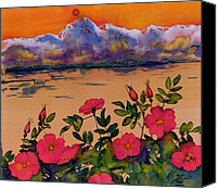 Wild Tapestries - Textiles Canvas Prints - Orange Sun over Wild Roses Canvas Print by Carolyn Doe