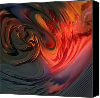 Fused Glass Art Canvas Prints - Orange Swirls Canvas Print by Kimberly Lyon