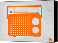 Modern Drawings Canvas Prints - Orange Transistor Radio Canvas Print by Irina  March