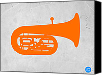 Tuba Canvas Prints - Orange Tuba Canvas Print by Irina  March