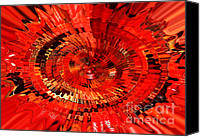 Bold Colors Canvas Prints - Orange Vortex Energy - Abstract Art Canvas Print by Carol Groenen