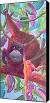 Orangutan Painting Canvas Prints - Orangutan Mama Canvas Print by Rita Goldner