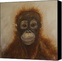 Orangutan Painting Canvas Prints - Orangutan plea Canvas Print by Carol Theologo