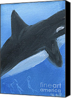 Whale Painting Canvas Prints - Orca Closeup Canvas Print by Gunilla Wachtel