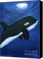 Whale Painting Canvas Prints - Orca Canvas Print by Gunilla Wachtel