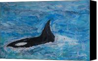 Whale Painting Canvas Prints - Orca Canvas Print by Iris Gill