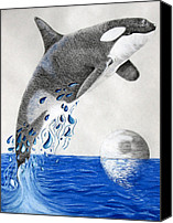 Whale Pastels Canvas Prints - Orca Canvas Print by Mayhem Mediums