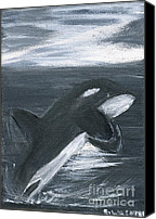 Whale Painting Canvas Prints - Orca Play Canvas Print by Gunilla Wachtel
