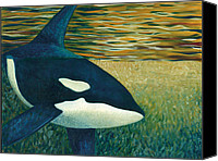 Whale Painting Canvas Prints - Orca Canvas Print by Tammy Olson