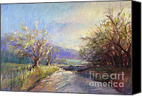 Rural Scenes Pastels Canvas Prints - Orchard Lane Canvas Print by Pamela Pretty