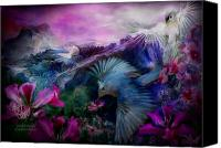 Tropical Bird Art Canvas Prints - Orchid Jungle Canvas Print by Carol Cavalaris