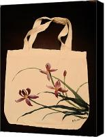 Painted Tapestries - Textiles Canvas Prints - Orchid on tote bag Canvas Print by Anita Lau