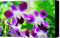 Painterly Orchids Canvas Prints - Orchids in Relief Canvas Print by Rianna Stackhouse