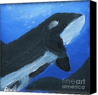 Whale Painting Canvas Prints - Orcinus Orca Canvas Print by Gunilla Wachtel
