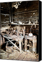 Pioneers Canvas Prints - Ore Assay Shop Work Bench - Molson Ghost Town Canvas Print by Daniel Hagerman