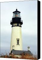 Haunted Canvas Prints - Oregon Coast Lighthouses - Yaquina Head Lighthouse Canvas Print by Christine Till