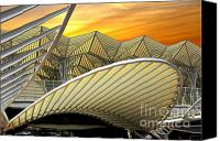 Glass Canvas Prints - Oriente Station Canvas Print by Carlos Caetano