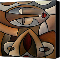 Oil Wine Canvas Prints - Original Cubist Art Painting - Mama Canvas Print by Tom Fedro - Fidostudio