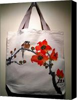 Painted Tapestries - Textiles Canvas Prints - Original hand-painted totebag Canvas Print by Anita Lau