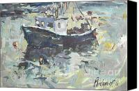 Harbor Art Painting Canvas Prints - Original Lobster Boat Painting Canvas Print by Robert Joyner