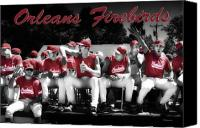 Team Canvas Prints - Orleans Firebirds Baseball Team Canvas Print by Dapixara Art