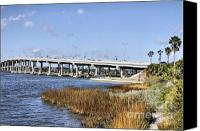 Florida Bridge Photo Canvas Prints - Ormond Beach Bridge Canvas Print by Deborah Benoit