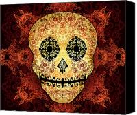 Halloween Digital Art Canvas Prints - Ornate Floral Sugar Skull Canvas Print by Tammy Wetzel