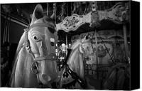Fun Fair Canvas Prints - Ornate Horses On An Empty Carousel Merry-go-round In The Uk Canvas Print by Joe Fox
