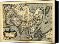 Map Of The World Photo Canvas Prints - Orteliuss Map Of Asia, 1570 Canvas Print by Library Of Congress, Geography And Map Division