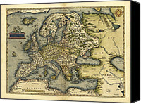 Map Of The World Photo Canvas Prints - Orteliuss Map Of Europe, 1570 Canvas Print by Library Of Congress, Geography And Map Division