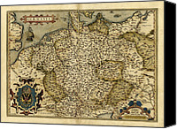 Map Of The World Photo Canvas Prints - Orteliuss Map Of Germany, 1570 Canvas Print by Library Of Congress, Geography And Map Division