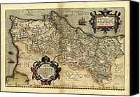 Map Of The World Photo Canvas Prints - Orteliuss Map Of Portugal, 1570 Canvas Print by Library Of Congress, Geography And Map Division