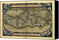 Map Of The World Photo Canvas Prints - Orteliuss World Map, 1570 Canvas Print by Library Of Congress, Geography And Map Division