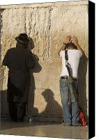 Stone Wall Canvas Prints - Orthodox Jew And Soldier Pray, Western Canvas Print by Richard Nowitz