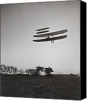 Bi Planes Canvas Prints - Orville Wright 1871-1948 Flying Canvas Print by Everett