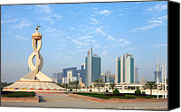 Roundabout Canvas Prints - Oryx Roundabout in Qatar Canvas Print by Paul Cowan