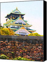 Middle Ages Digital Art Canvas Prints - Osaka Castle - Painterly - 40D17138 Canvas Print by Wingsdomain Art and Photography