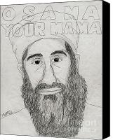 Barrack-obama Canvas Prints - Osama Your Mama Canvas Print by Matthew Fields