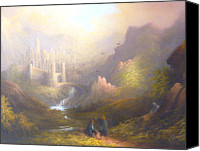 Moria Canvas Prints - Osgiliath Frodo Sam and Gollum Canvas Print by Joe Gilronan