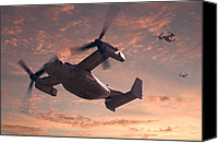 Sunset Digital Art Canvas Prints - Ospreys in Flight Canvas Print by Mike McGlothlen