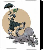 Featured Canvas Prints - Otto By The Sea Canvas Print by Brian Kesinger