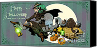 Halloween Painting Canvas Prints - Ottos First Flight Canvas Print by Brian Kesinger