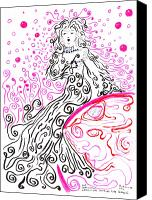 Spiral Drawings Canvas Prints - Our Benevolent Lady of the Swirling Soap Bubbles Canvas Print by Regina Valluzzi