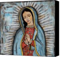 Inspirational Painting Canvas Prints - Our Lady of Guadalupe Canvas Print by Rain Ririn