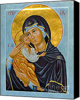 Icon Byzantine Canvas Prints - Our Lady of Tenderness Canvas Print by Juliet Venter