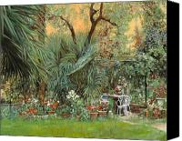 Garden Painting Canvas Prints - Our Little Garden Canvas Print by Guido Borelli