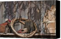 Basket Photo Canvas Prints - Out in the Barn IV Canvas Print by Tom Mc Nemar