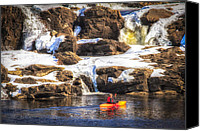 Androscoggin River Canvas Prints - Out My Backdoor Number 5 Winter Kayaking  Canvas Print by Bob Orsillo