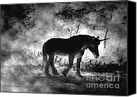 Black Unicorn Canvas Prints - Out of the Shadows Canvas Print by Cori Caputo